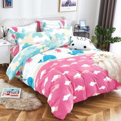 Grace Life 加大 親膚棉感活性印染枕套床包三件組-碧海藍天