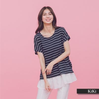 【KiKi】下襬雪紡造型條紋-上衣(白色)