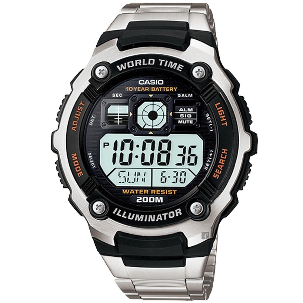 CASIO 卡西歐 10年電力金屬風計時手錶-銀 AE-2000WD-1A