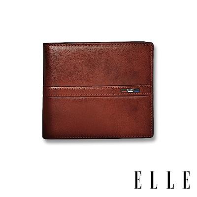 ELLE HOMME 70週年系列-3卡窗格簡約真皮皮夾/短夾/零錢袋- 紳士棕 EL207044