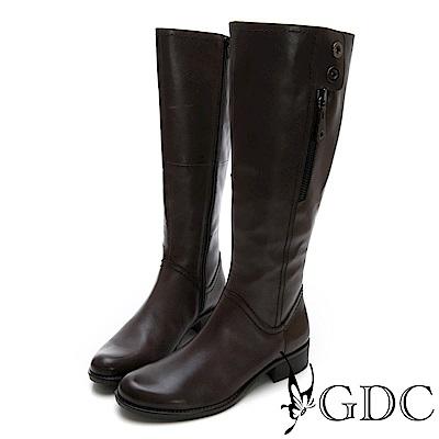 GDC-牛皮美西率性挺版長靴-灰色