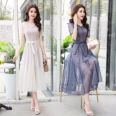 時尚飄逸綁帶大擺波點紗裙套裝M~2XL(共二色)-SZ