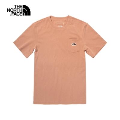 The North Face北面男女款粉色胸前口袋短袖T恤|4U93V3R