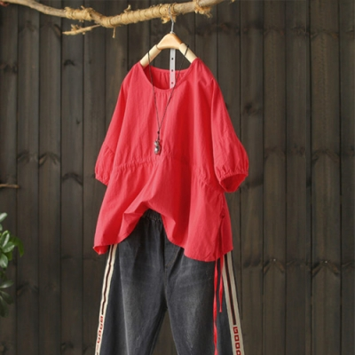 寬鬆短版純棉娃娃衫抽繩半袖圓領T恤上衣-設計所在