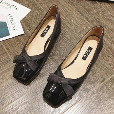 KEITH-WILL時尚鞋館 輕盈舒適蝴蝶結方頭粗跟鞋-黑