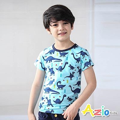 Azio Kids 上衣 三角形滿版恐龍短袖T恤(藍)