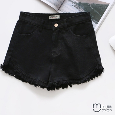 Mini嚴選- 糖果色鬚邊流蘇修身短褲 七色