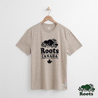 Roots-男裝-度假小屋短袖T恤-米白