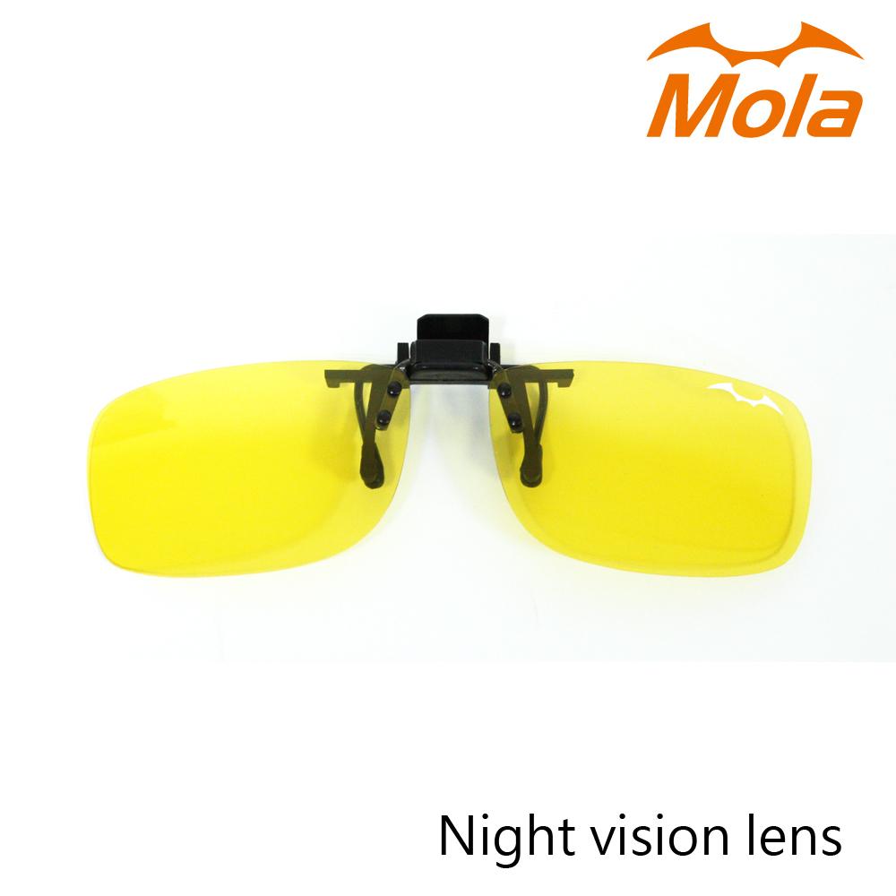 MOLA摩拉偏光夜視黃眼鏡夾片 夜間/陰天/雨天開車外出 近視眼鏡可用-小翻黃