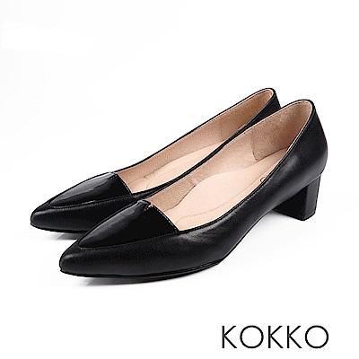 KOKKO-日本同步異材尖頭小V真皮粗跟-黑