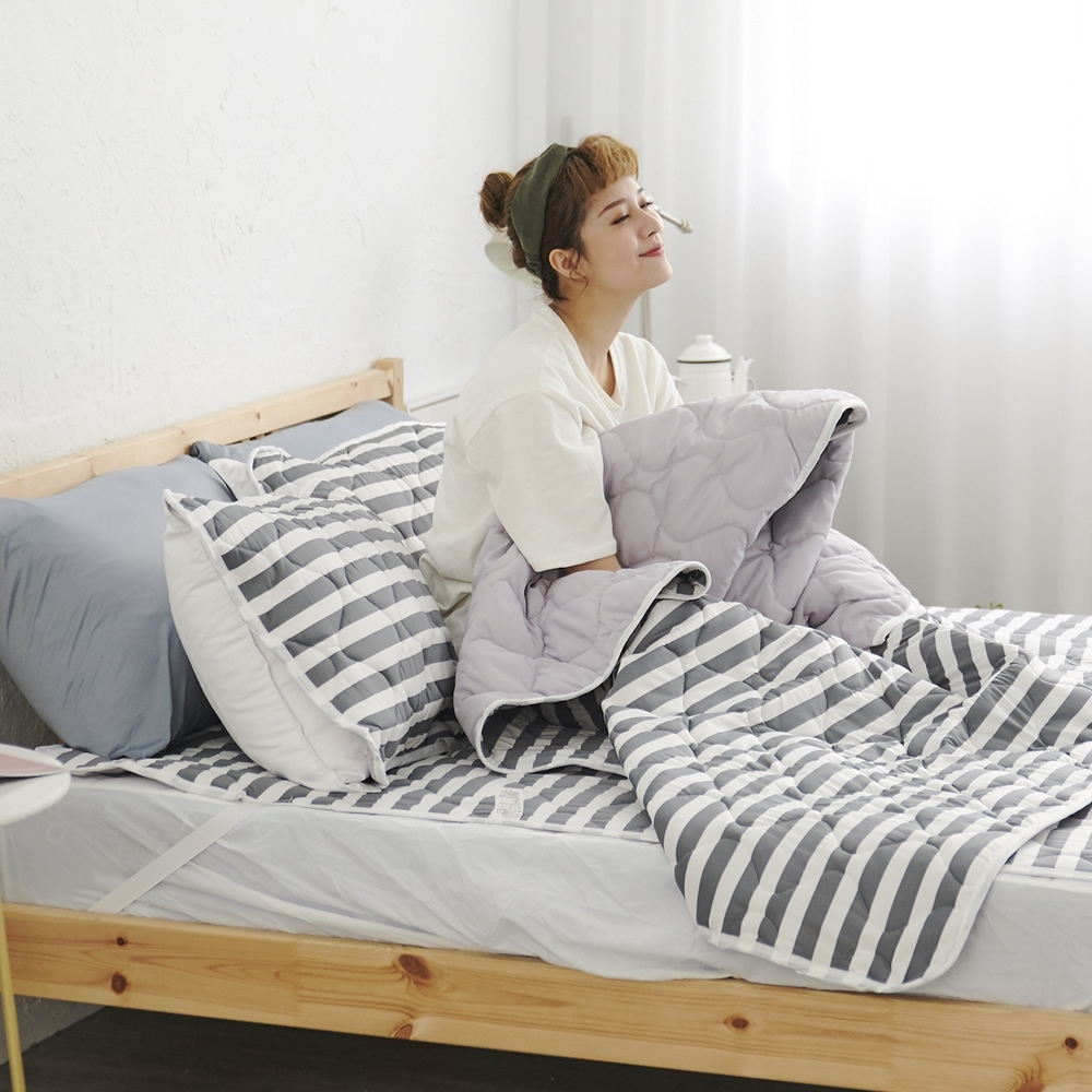 Adorar 平單式針織親水涼感墊+涼枕墊三件組-雙人加大(灰)