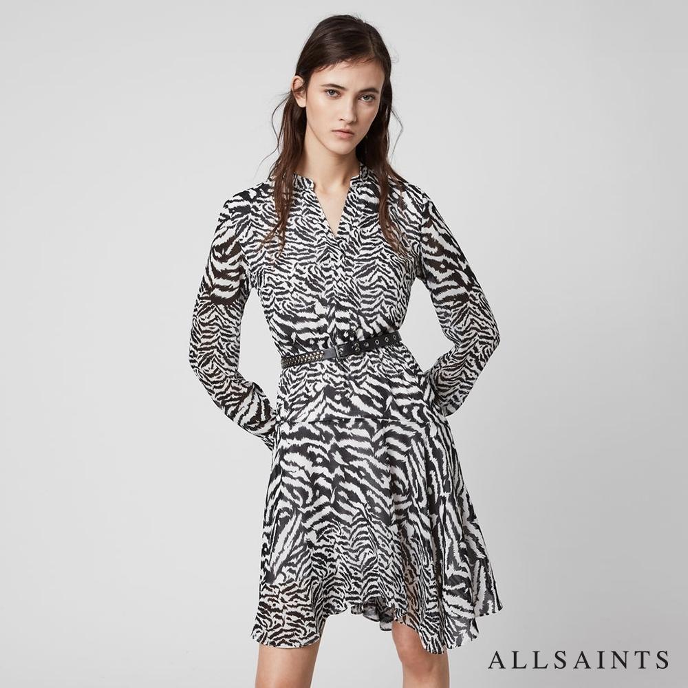 ALLSAINTS MARTINA 斑馬紋襯衫式短洋裝-白