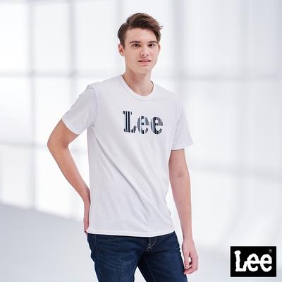 Lee短T 直條紋大Logo短袖圓領Tee恤 男款 白色