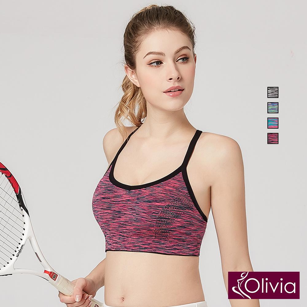 Olivia 無鋼圈高彈力防震美背運動內衣-玫紅