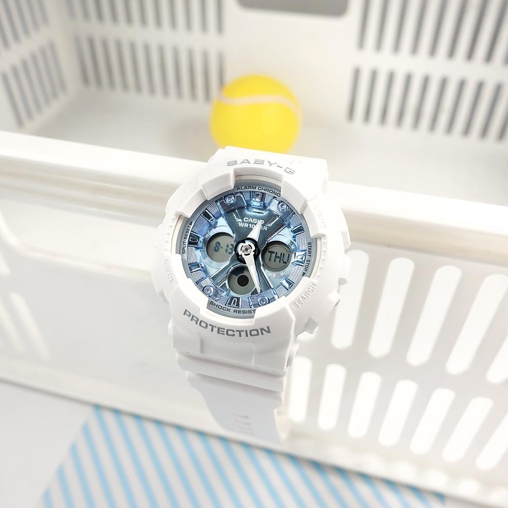 Baby-G CASIO 卡西歐 雙顯 帥氣甜美 計時 防水100米 運動 手錶-藍白色/43mm