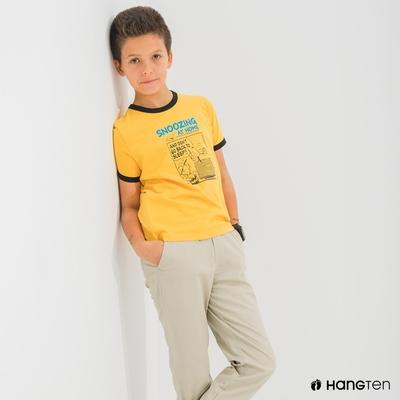 Hang Ten-男童-Charlie Brown漫畫短袖T恤-黃色