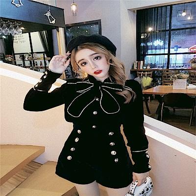 DABI 韓系蝴蝶結系帶雙排扣高腰短褲套裝長袖褲裝