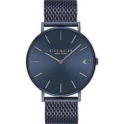 COACH 經典馬車米蘭帶腕錶(14602146)-靛藍/41mm