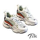 T2R-正韓空運-真皮網布隱形內增高厚底老爹鞋-增高7公分-米綠