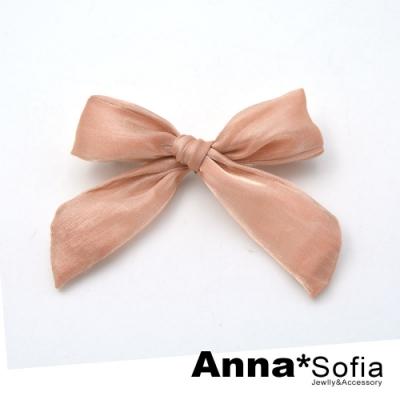 AnnaSofia 亮絲綢蝶結 純手工邊夾髮夾(粉系)