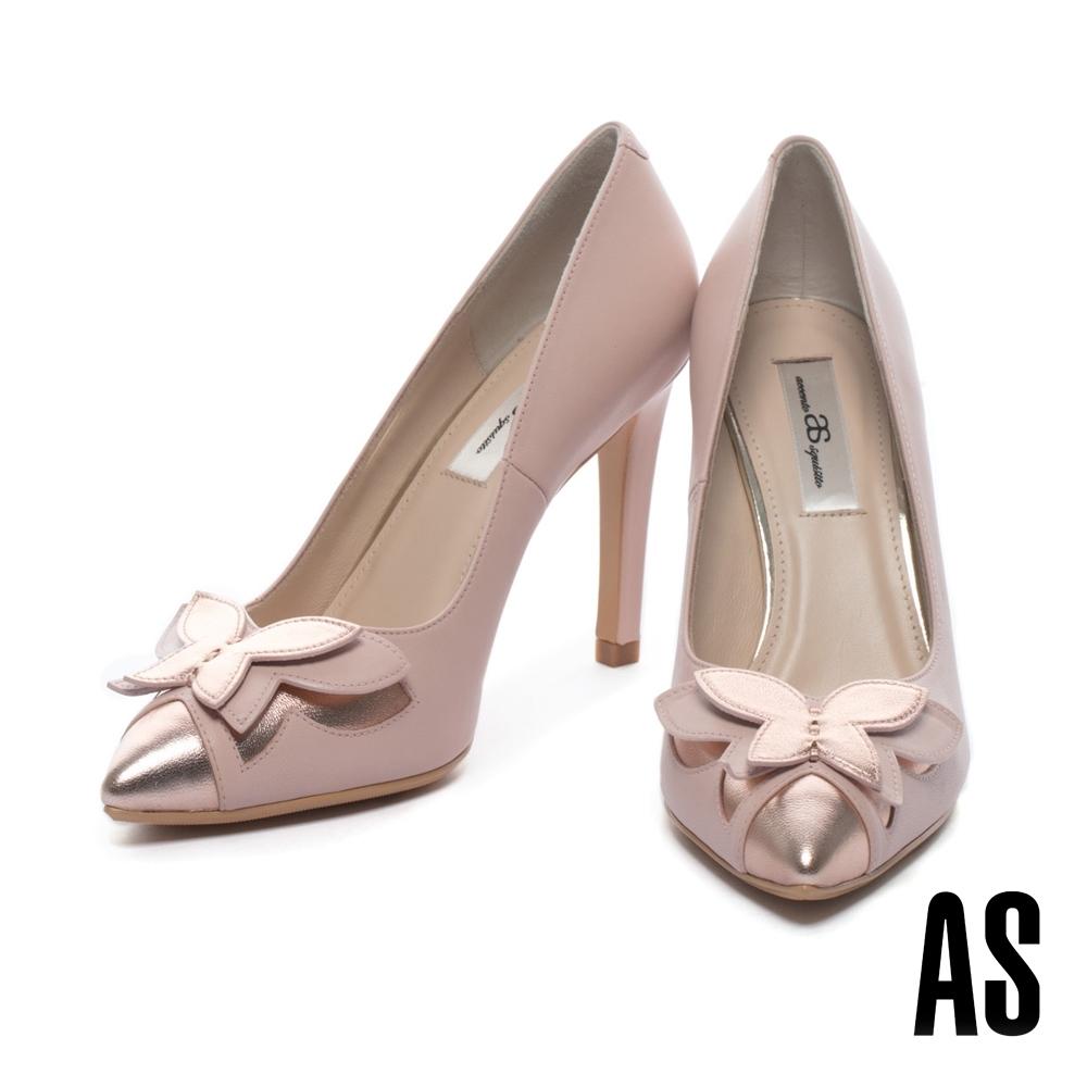 高跟鞋 AS 華麗優雅蝴蝶造型尖頭美型高跟鞋-粉