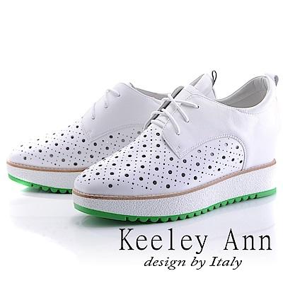 Keeley Ann 街頭潮流~綁帶洞洞設計全真皮內增高休閒鞋(白色-Ann)