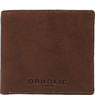 OBHOLIC 咖啡色牛皮男士錢包皮夾短夾