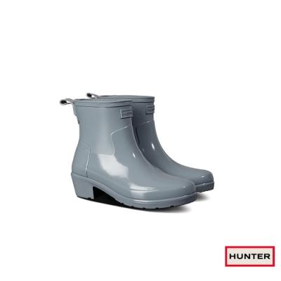 HUNTER - 女鞋-Refined低跟拼接亮面踝靴 - 灰