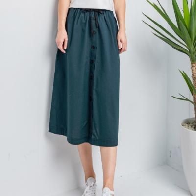 【白鵝buyer】百搭100%棉七分寬裙_藍綠