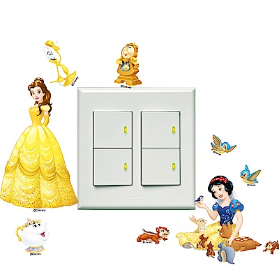 itaste小品味-迪士尼公主系列開關壁貼-貝兒白雪8cm*12cm