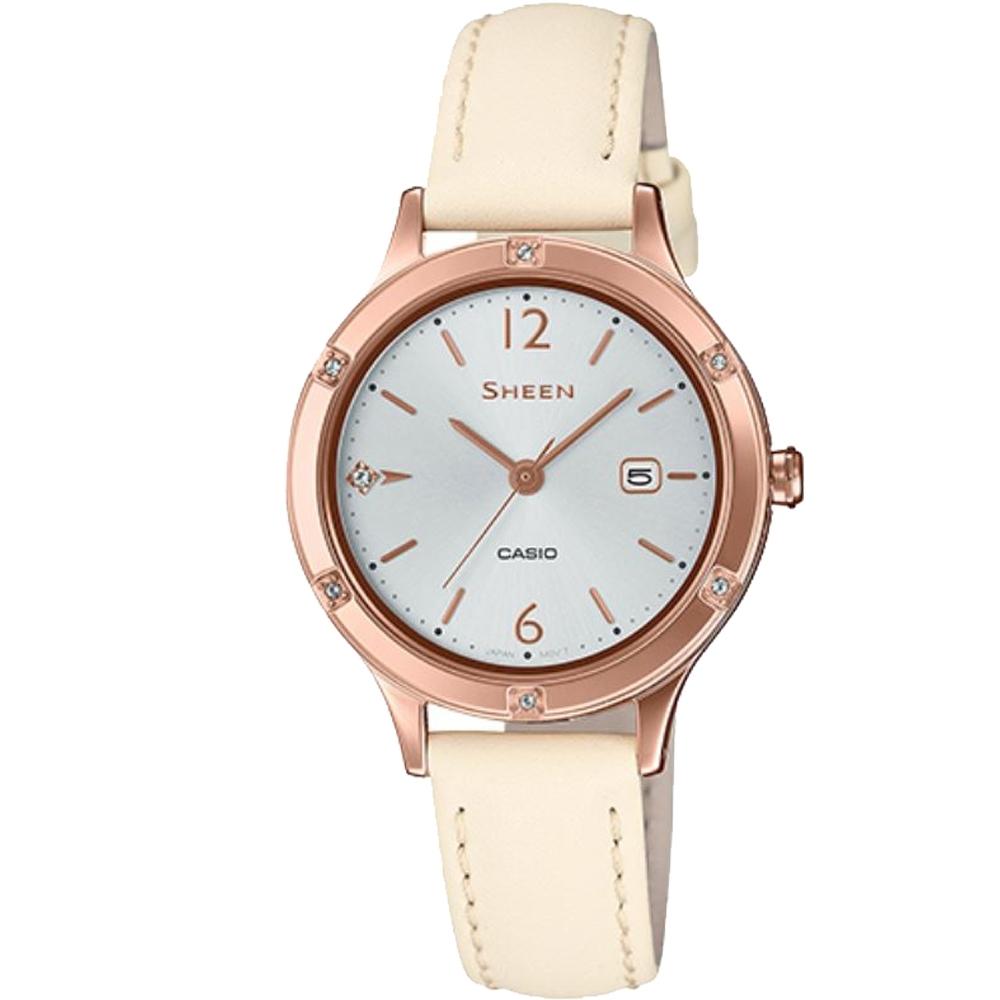 SHEEN 簡約動人藍寶石玻璃設計皮帶腕錶-白(SHE-4533PGL-7A)/36.7