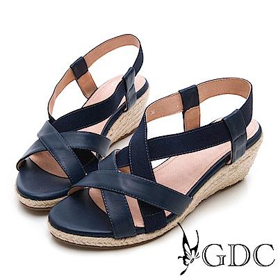 GDC-氣質淑女真皮交叉楔型涼鞋-藍色