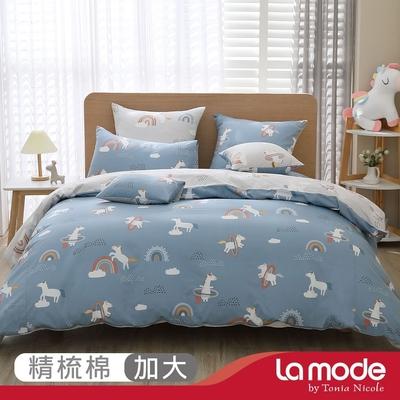 La mode寢飾 飛天狂想曲環保印染100%精梳棉兩用被床包組(加大)