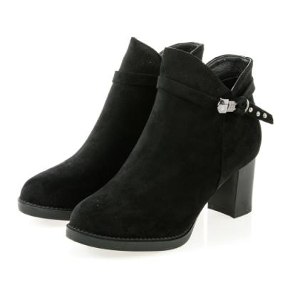 JMS-時髦鎖釦鉚釘繫帶拉鍊粗高跟短靴-黑色