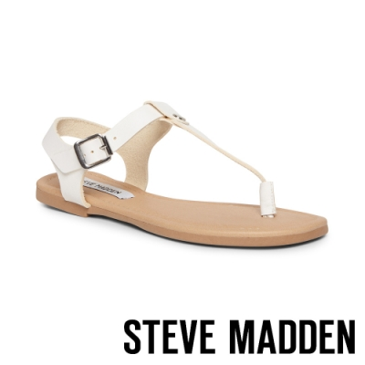 STEVE MADDEN-INTERVAL 夏日皮革扣環夾腳涼拖鞋-白色