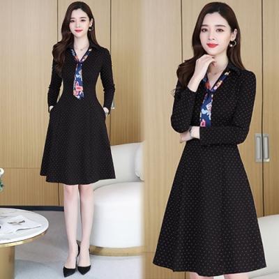 【韓國K.W.】(預購)點點碎花時尚穿搭洋裝-2色