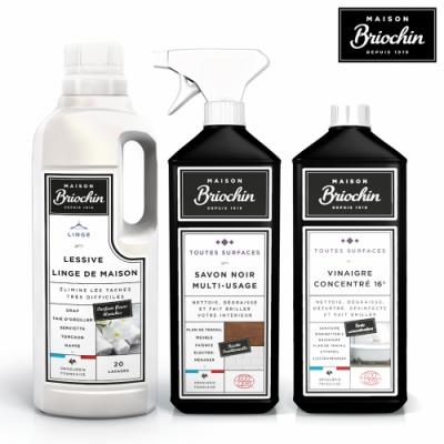 Maison Briochin 黑牌碧歐馨 居家質感全效組-多功能黑皂液+多效清潔醋+天然柔嫩洗衣精