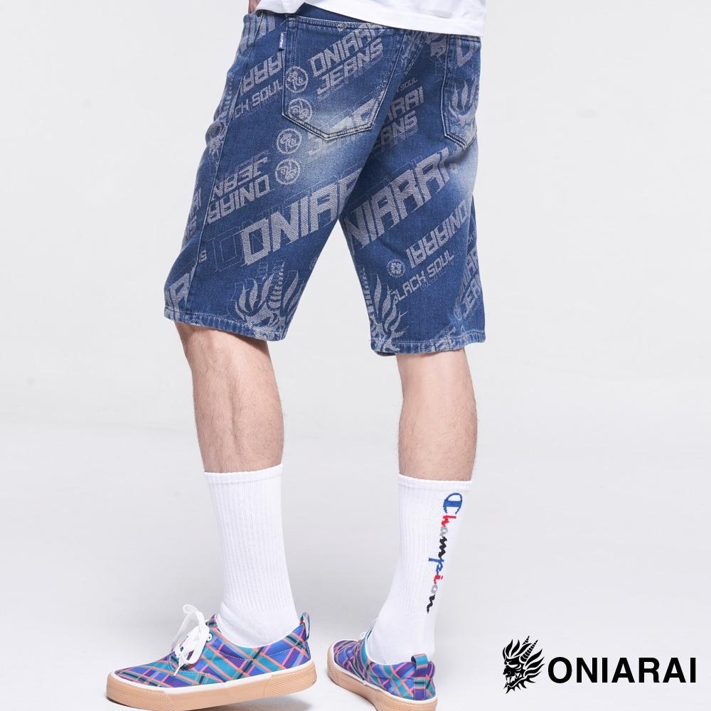 鬼洗 BLUE WAY – 大緹織3D鬼頭丹寧短褲(深藍)