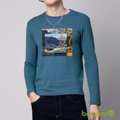 bossini男裝-印花長袖T恤05蔚藍色