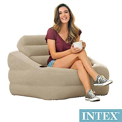 INTEX 歐式充氣沙發(可拆式靠背)-褐灰色(68587)