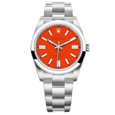 ROLEX 勞力士 124300 新款 OYSTER PERPETUAL 勞力士珊瑚紅色 41mm