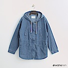Hang Ten - 女裝 - 雙口袋抽繩連帽外套 - 藍