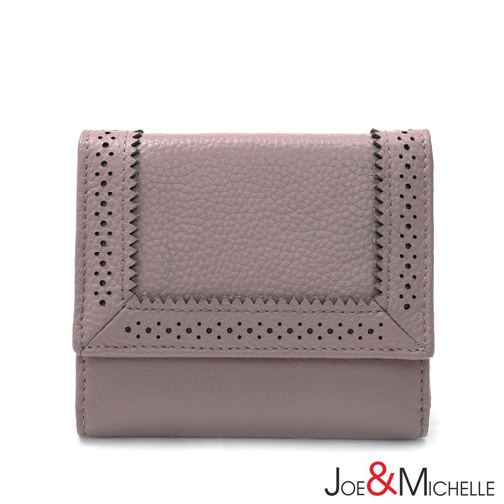 J&M 真皮克萊爾法式優雅三折短夾 淡雅粉