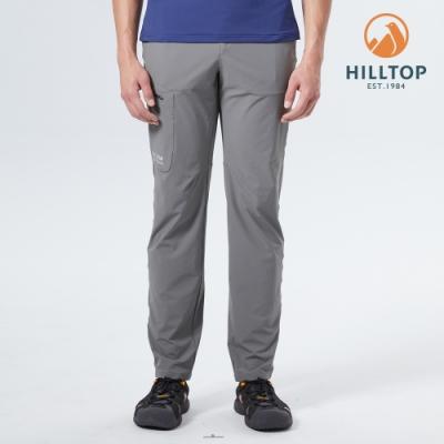 【hilltop山頂鳥】男款超潑水抗UV彈性戶外休閒長褲S07MD9灰