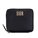 Dior 經典DIOR金釦羊皮拉鍊對開短夾 (黑色)