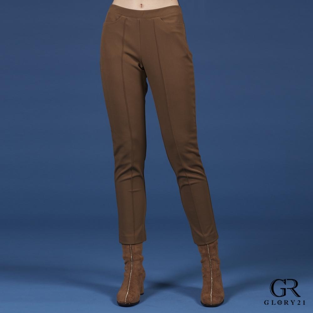 GLORY21彈性棉質合身長褲_淺咖啡