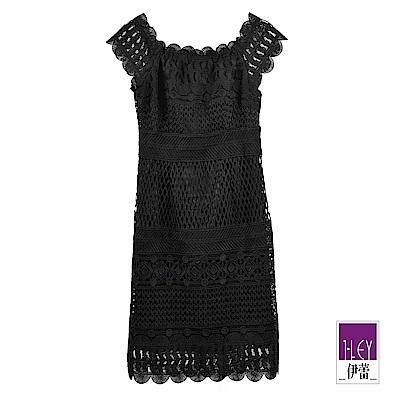 ILEY伊蕾 精緻水溶蕾絲性感黑色洋裝(黑)