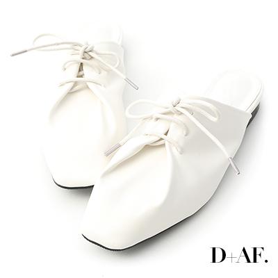 D+AF 品味生活.超軟皮革綁帶穆勒鞋*白