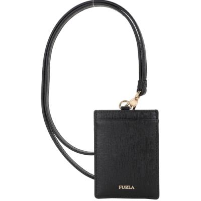 FURLA Linda 可拆掛繩金字防刮皮卡片証件夾(黑色)