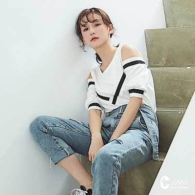 CANTWO JEANS 假兩件滾條露肩上衣-共兩色